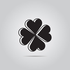 Clover simple vector icon. Saint patrick symbol.