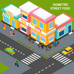 City Street Food Cafe Isometric Poster