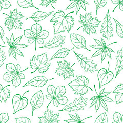 Sketched green leaves seamless pattern background
