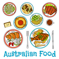 Authentic dishes of australian cuisine sketch