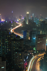 Elevated view of Shanghai city at night, Shanghai, China