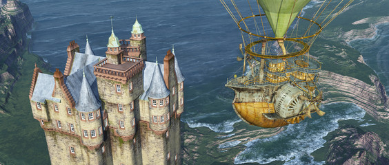 Scottish castle by the sea and fantasy airship