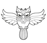 Black and white zentangle owl vector for coloring, civetta decorata ...
