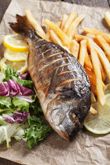Grilled fish with salad and frensh fries