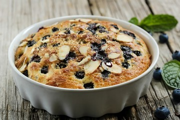 Blueberry pudding cake, selective focus