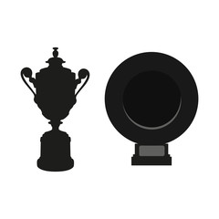 Black cup and dish isolated on white background. Flat vector design elements. Wimbledon man cup and woman Rosewater Dish vector silhouette isolated on white. Tennis symbol icon. Grand Slam Tournament