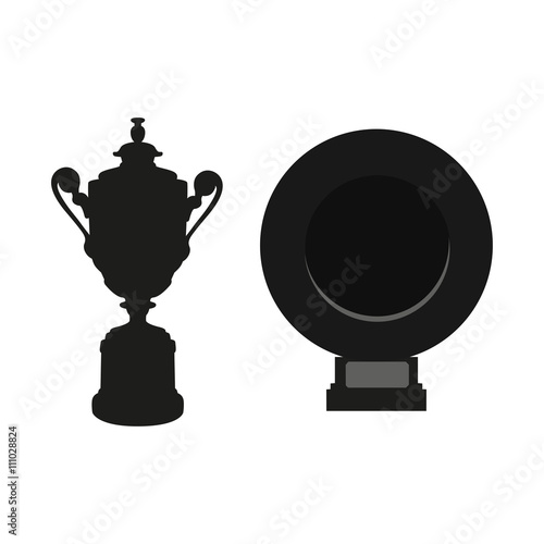 Black Cup Isolated On White Background Flat Vector Design Element UEFA Champions League Competition Winner Prize Trophy