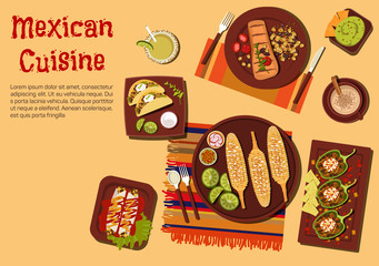 Grilled dishes of mexican cuisine for picnic icon