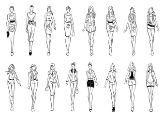 Fashion models shows everyday outfits sketch icons Wall mural