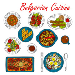 Hearty dishes of Bulgaria with meat and vegetables