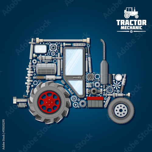 Tractor Parts Icon : Quot tractor silhouette with mechanical parts icon 스톡 이미지