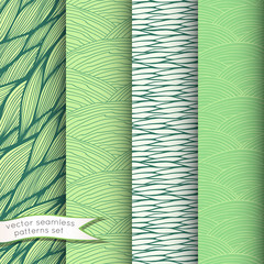 Decorative waves seamless patterns set