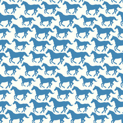 Seamless pattern with stylized silhouette horses