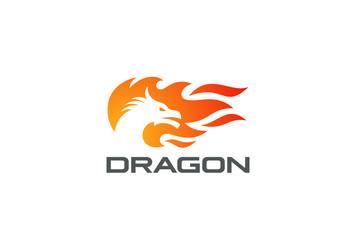Dragon Fire Flame Logo vector Negative space Logotype icon