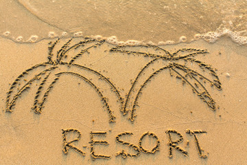 Word Resort and palm trees - drawn by hand on a light-golden beach sand..