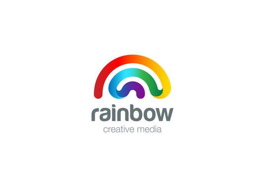 Rainbow Logo design vector. Wifi signal Logotype icon