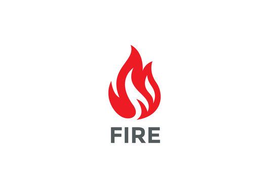 Fire Flame Logo design vector. Bonfire Silhouette Logotype icon