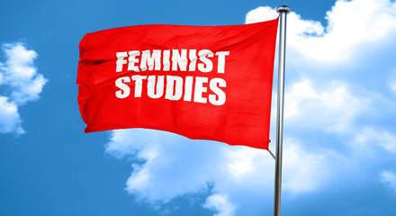 feminist studies, 3D rendering, a red waving flag