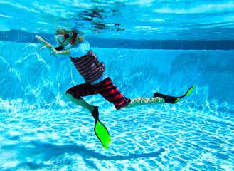 little boy swimming underwater, active kids
