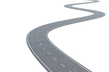 Curved road isolated on white background. 3d illustration