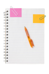 notebook, pen, paper clip and post it
