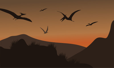 Silhouette of pterodactyl flying at afternoon