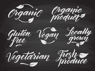 Hand drawn healthy food letterings stylized with chalk