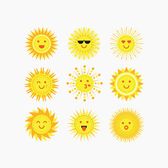 Cute isolated emotional smiling sun faces icons set on white background