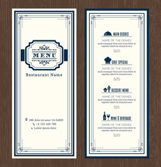Restaurant or cafe menu design template with vintage retro art deco frame border