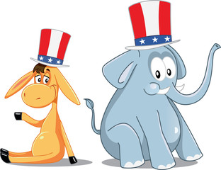Democrat Donkey and Republican Elephant Vector Election Cartoon