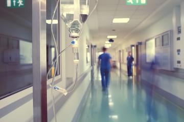 Medical drip in hospital corridor