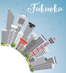 Fukuoka Skyline with Gray Landmarks, Blue Sky and Copy Space.
