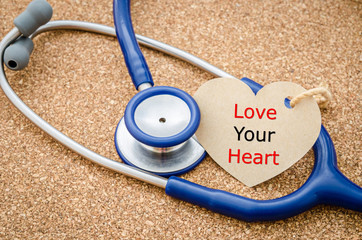 Love you heart word in paper tag.