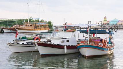 Fishing boats in river in Turkey