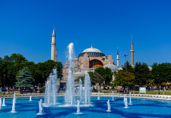Hagia Sofia and Sultan Ahmet Park fountain