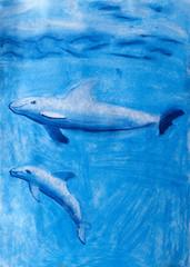 """Детский рисунок пастелью """"Дельфины под водой"""""""