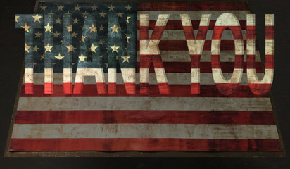 thank you on vintage american flag