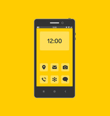 Smartphone with necessary application icons on screen.