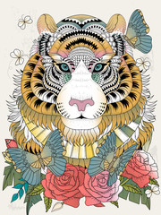 Imposing tiger adult coloring page