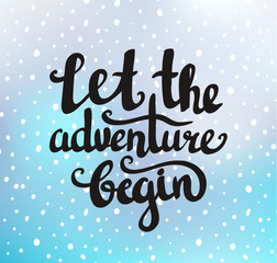 """Vector vintage card with sunburst and inspirational phrase """"Let the adventure begin"""". Stylish hipster cardboard background. Motivational quote."""