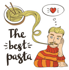 Hipster pasta doodles Background,hand drawing style.Vector illustration.