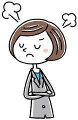 イラスト素材:ビジネス スーツの女性 怒る
