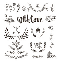 """Set isolated hand drawn design elements with stylish lettering """"with love"""". Wedding, marriage, save the date, Valentine's day. Stylish simple floral design. Vector illustration."""