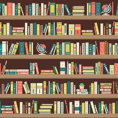 Library bookshelves in flat design