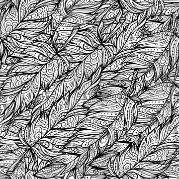 Vector zendoodle feathers seamless pattern