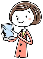 イラスト素材:ビジネス スーツの女性 タブレット