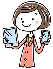 イラスト素材:ビジネス スーツの女性  スマートフォンとタブレット