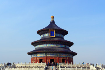 Aluminium Prints Peking The Temple of Heaven front view with a clear blue sky background in Beijing, China