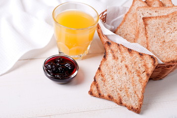 toast with juice and jam