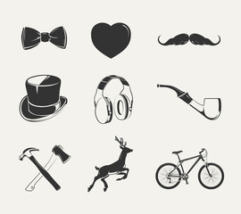Vector elements for vintage hipster labels. Hipster element for label and emblem, hipter objects classic illustration